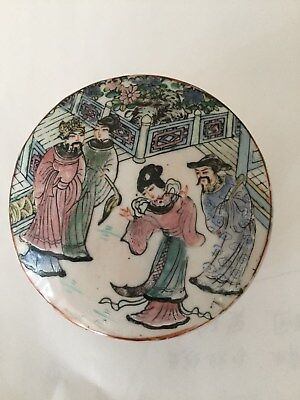Antique Vintage Chinese Export pottery box Early-Mid Century