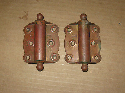 Antique Pair Of Brass Spring Loaded Butterfly Hinges Bommer PAT. JUNE 8.1909