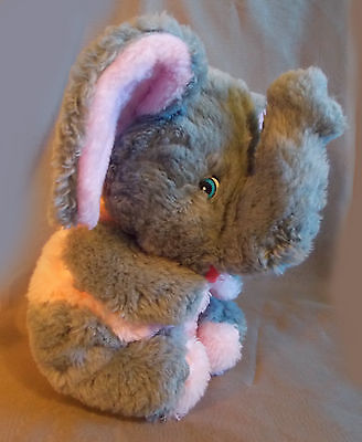 "Mid Century Plush Elephant Fluffy Pink Grey Gray 14"" Seated Blue Eyes"
