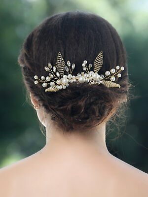 Jovono Womens Bridal Rhinestone Bead Gold Hair Combs Wedding Accessories for