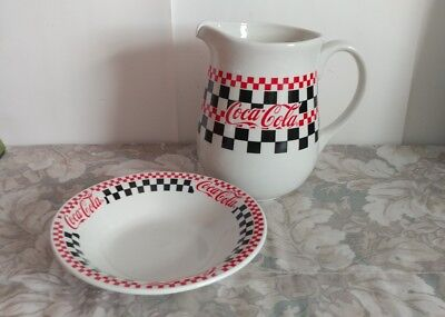 Vtg Ceramic Stoneware Checkerboard Pitcher & Bowl / 1996
