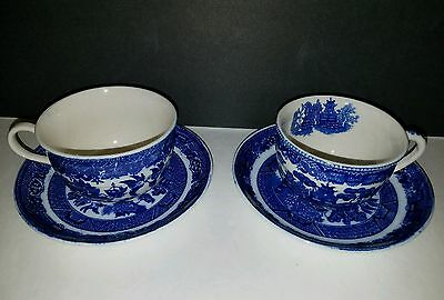 Blue Willow - ish Pair of Teacup and Saucers VINTAGE