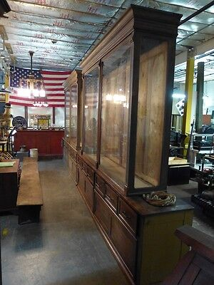 20' Victorian Display Case Cabinet Sliding Glass Doors Back Bar Museum