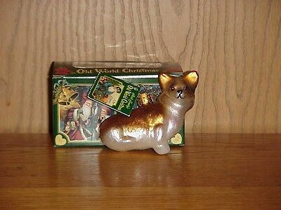 Nwt Old World Christmas Glass Ornament Red &white Pembroke Welsh Corgi  Sitting