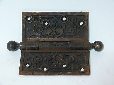 """Ornate Cast Iron Victorian Ball Pin Door Hinge with Lion Faces 4 1/2"""""""
