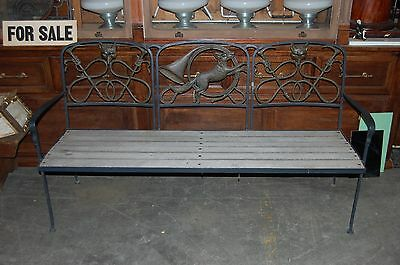 Wrought Iron Cast Brass Wood Bench Fox Hunting Motif Horn Country Estate Antique