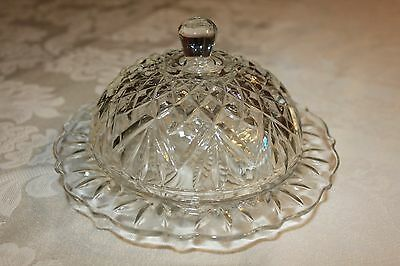 VTG Prescut EAPC Crystal Anchor Hocking Pineapple Round Dome Covered Butter Dish