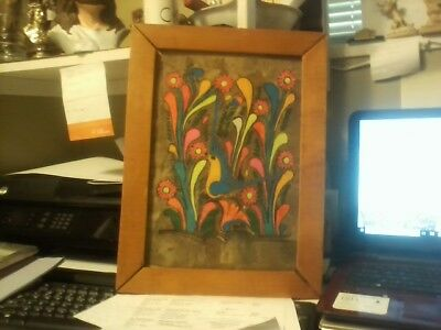 RARE OLD FLOWERS + BIRD SCENE WOOD TYPE CLOTH PAINTING UNSIGNED read below