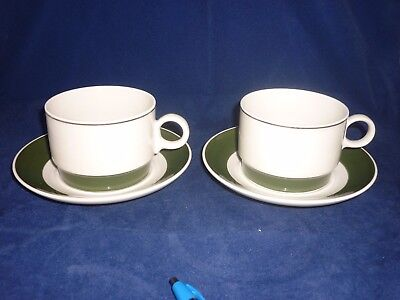 RORSTRAND Sweden TAFFEL 2 Tea Cups and Saucers Green White China Scandinavian
