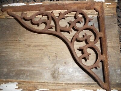 Antique Steampunk Shabby Iron Shelf Bracket Porch Hook Plant Lamp Sign Holder