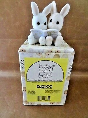 """Precious Moments Bunnies Reading """"There Are Two Sides to Every Story"""" NIB 1997"""