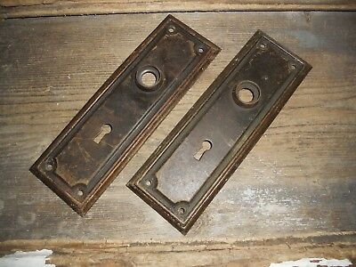Vtg Set Rustic Metal Mission Raised Edge Door Knob Skeleton Key Hole Back Plates