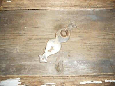 Vtg Old Shabby Art Deco Hour Glass Shaped Rustic Shabby Door Knob Backplate