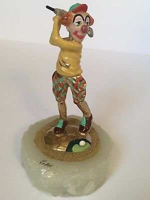 Ron Lee Clown Golfing Sculpture Figurine Playing Golf Swinging Club Onyx Base