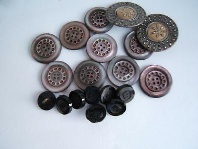19 Vintage Buttons: Shell-Black Glass-Cut Steel