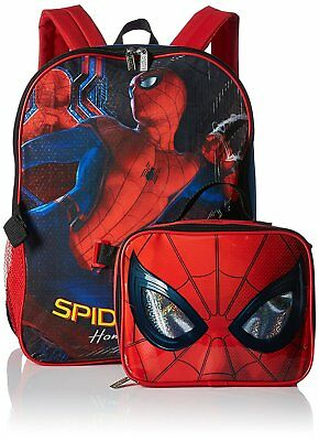 """Spider-Man Homecoming 16"""" Large School Backpack Detachable Lunch Bag for Kids"""