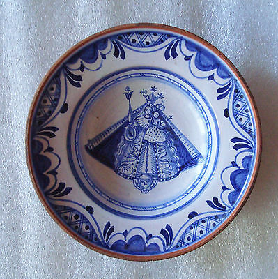Antique Polychrome Pottery Dutch Delft Blue? Queen Madonna Bowl Dish Signed W