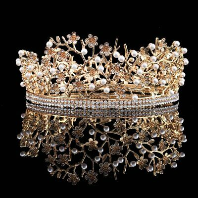 FUMUD Gold Rhinestone Pearl Crown Queen Bridal Headpieces Prom Party Pageant