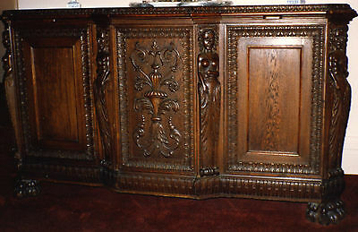 MAGNIFICENT ANTIQUE 1880s HAND CARVED OAK DINING ROOM BUFFET