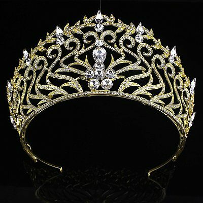 FUMUD 3.4Wedding Pageant Gold Tiara Crown Crystal Bridal Pageant Crown And For