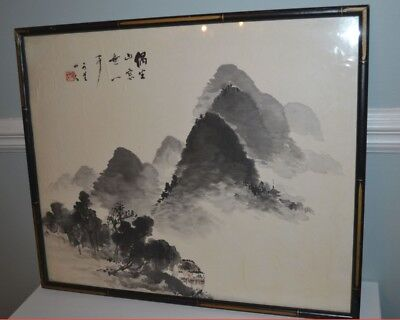 Vintage Antique Chinese Watercolor Painting on Paper Marked and Framed