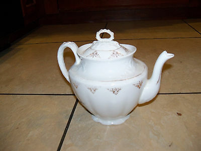 EDWIN M. KNOWLES CHINA SEMI VITREOUS TEAPOT Gold Trimmed