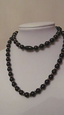 "Vintage Black And Gold Tone Bead Necklace 26"" Euc Free Shipping"