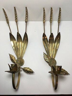 2 VTG Brass Italian Tole Wheat Stalks Hollywood Regency Wall Candle Holder 15""