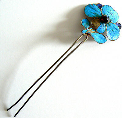 Qing Dynasty Kingfisher Feather Hair Pin Antique VINTAGE Tian-tsui  Ca. 1850 碧玺