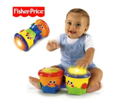 Fisher Price Bop & Crawl Bongos - Crawl-Along Drum Roll w/ Songs, Music & Lights