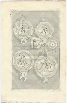 Ancient Roman Lamps Excavated in Rome - 1728 Engraved Plate by Bellori (f.19-25)