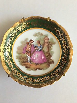 Limoges Plate with a Green & Gold Border on a Stand