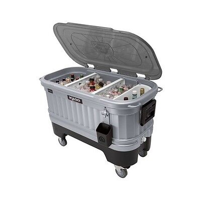 Portable Cooler With Wheels Ice Chest  Large Metal Party Huge 125 Quart LED