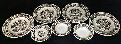 Vintage Vendome Royal China Hampshire USA 7 Piece Set Black/White