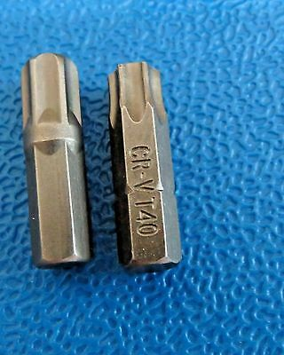 "T40 & T45 Torx Star 25Mm 1/4"" Hex  Chrome Vanadium Quality Bits"