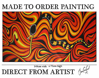 painting Aboriginal inspired Art By Jane Crawford COA Huge bush fire king brown
