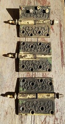 3 Antique Victorian Era Door Hinges 4x4 L Patd Jan 26 1869 Jan 1870 BronzeBrass