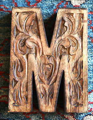 Hand Carved Wooden Letter M Initial Tooled Large Block Bookend Decorative Name D