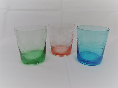 """3 Vintage Multi Color Old Fashioned Glasses Hand Blown & Cut 4"""" Gorgeous"""