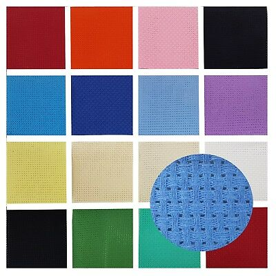 BINCA Cross Stitch Fabric 14 Colours AIDA 6 Count 12.5cm 50cm 100cm Sheets - UK