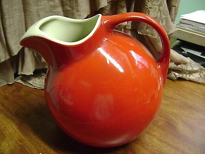 Vintage Hall's Superior Quality Kitchenware Usa Deep Red Ball Pitcher