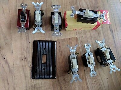 Lot Of 7 Vintage Light Switches / 1 Wall Plate