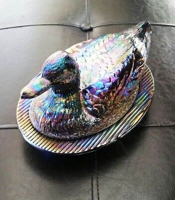 Westmoreland Glass BLUE Colbalt DUCK on a NEST CANDY DISH used WAVY base no eyes