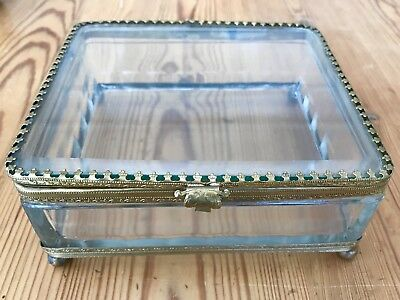 Antique French Large Beveled Glass Casket Footed Box Jewelry Trinket Display