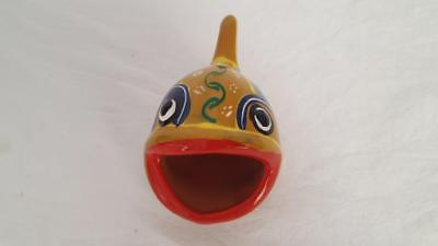 "4"" Terra Cotta Big Mouth Fish Hand Painted Tribal Pottery Mexico 1.75X1.5""mouth"