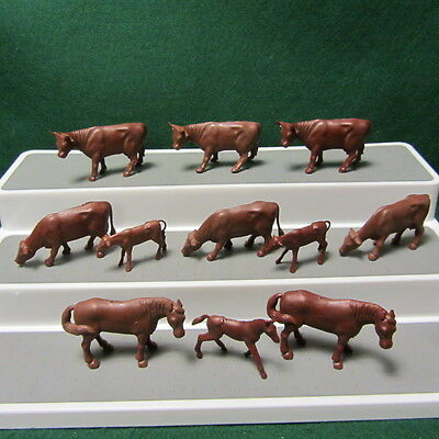 Vintage Marx Happi Time Farm Animals Redish Brown 11 Pcs Set