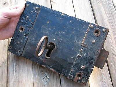 Antique Large Oak and Iron Door Lock WITH KEY / Wood / Wooden