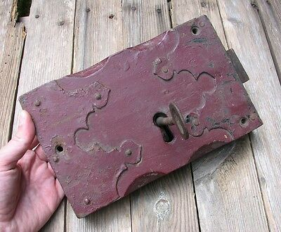 Antique Large Church Oak and Iron Door Lock  - WITH KEY / Wood / Wooden Gothic