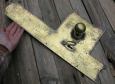 Antique Large Rare Brass Finger Plate with Door Knob Hammered Effect