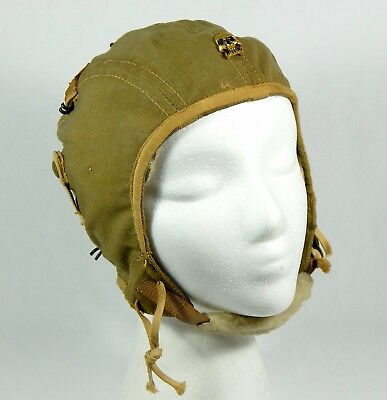 WWII ARMY AIR CORPS TYPE A-9 SUMMER FLYING HELMET- SZ Med-Small